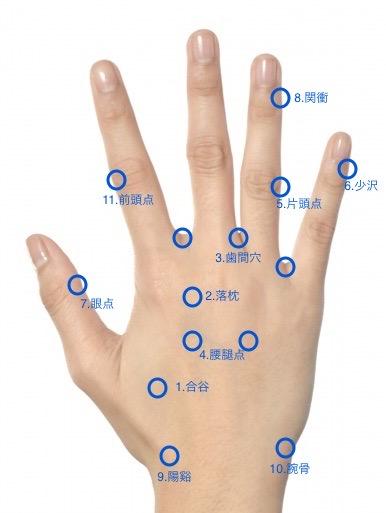 手のツボ(手の甲側)